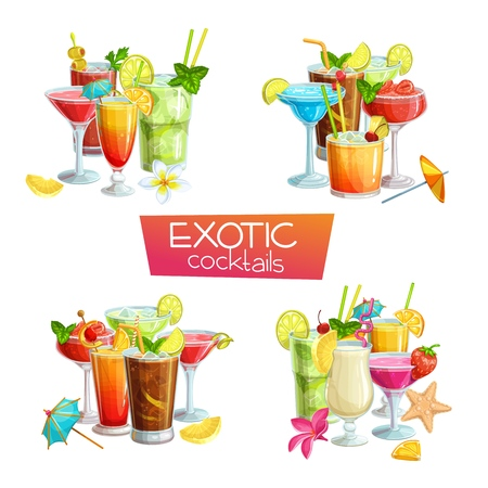 Alcoholic cocklails banners. Summer beach alcoholic drinks. Holiday and beach party vector background. Long island, bloody mary, margarita, mai tai, pina colada, blue lagoon Illustration