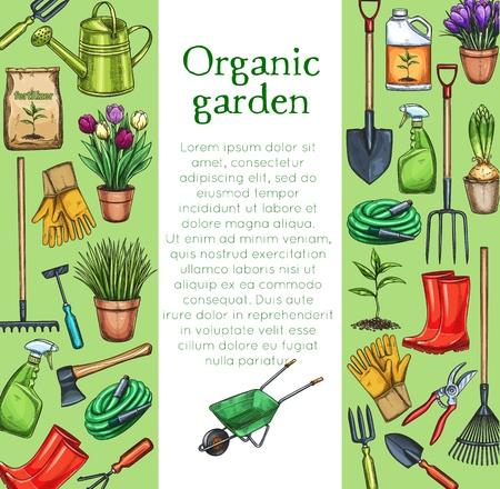 Gardening layout. Garden tools, potted flowers and fertilizer in sketch style. Vector illustration Ilustração Vetorial