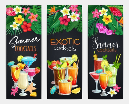 Exotic cocktails banners. Summer alcoholic holiday and beach party drinks. Long island, bloody mary, cosmopolitan, margarita, mai tai, pina colada, blue lagoon and etc. Vector illustration. Illustration
