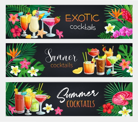 Exotic cocktails banners. Summer alcoholic holiday and beach party drinks. Long island, bloody mary, cosmopolitan, margarita, mai tai, pina colada, blue lagoon and etc. Vector illustration. Ilustração
