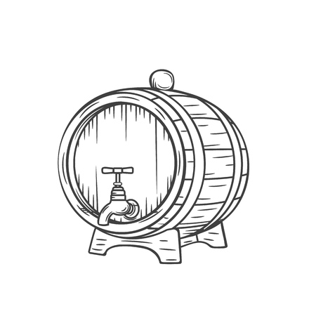Beer or wine barrel icon. Engraving style.