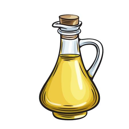 bouteille en verre pichet d'huile d'olive Vecteurs