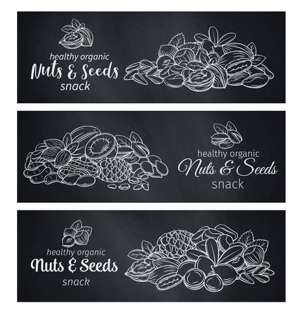 Banner template with hand drawn sketch nuts and seeds. Cola nut, pumpkin seed, peanut and sunflower seeds. Pistachio, cashew, coconut, hazelnut and macadamia. Chalkboard style