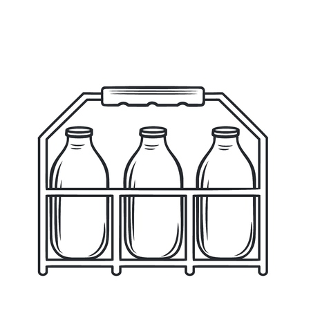 Vector outline bootle milk icon. Dairy product in plastic packaging. Retro style Illustration