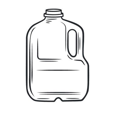 Icono de leche de pirata de contorno vectorial. Producto lácteo en envases de plástico. Estilo retro. Ilustración de vector