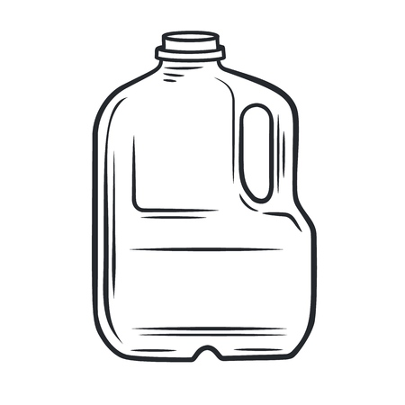 Vector outline bootle milk icon. Dairy product in plastic packaging. Retro style. Illustration
