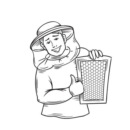 Icône de contour apiculteur. Conception de miel. Illustration vectorielle.