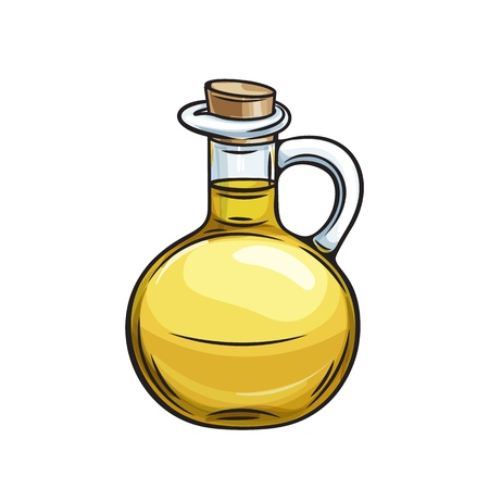 glass bottle jug of olive oil Иллюстрация