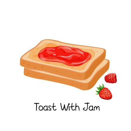 Toast with jam and berries
