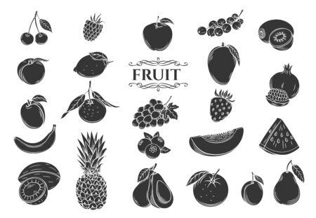Fruit glyph icons set Иллюстрация
