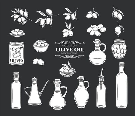 Olives and olive oil icons