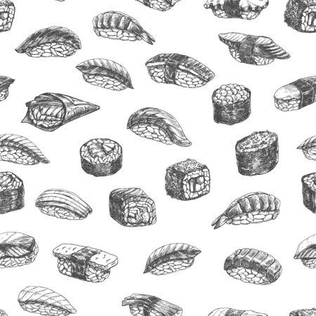 Seamless pattern sushi rolls