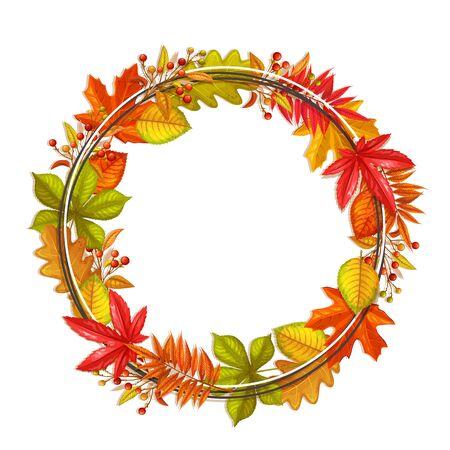 fall frame with autumn foliage