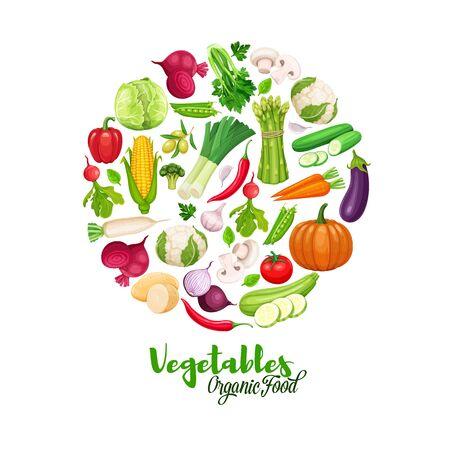 Vegetables round banner