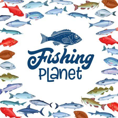 Fish, seafood template Иллюстрация