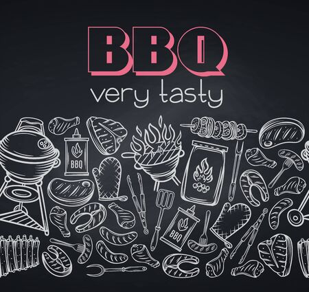 Barbecue round banner, blackboard style