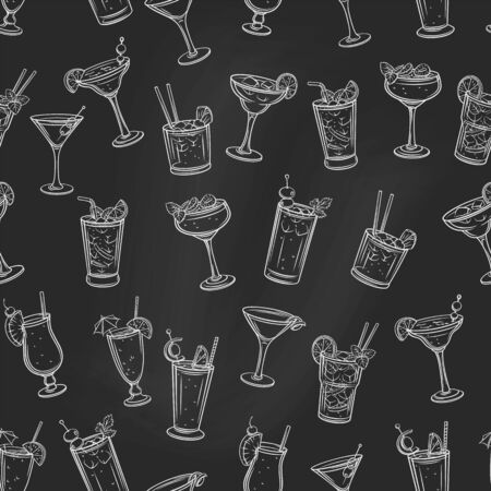 Alcoholic summer cocklails seamless pattern