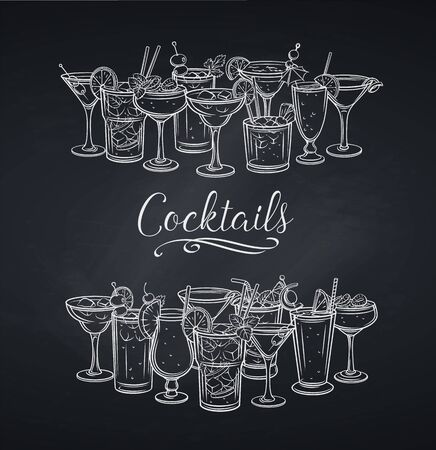 Alcoholic cocklails banner, chalkboard Иллюстрация