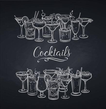 Alcoholic cocklails banner, chalkboard Illustration