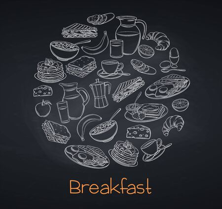 Breakfast and brunch, blackboard style Ilustrace