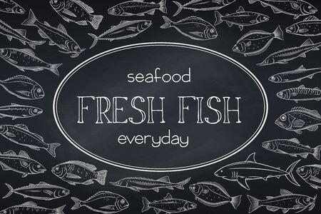 layout hand drawn fish, blackboard