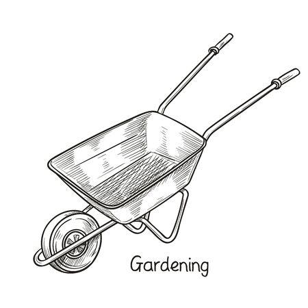 Garden wheelbarrow, illustration of Garden tools