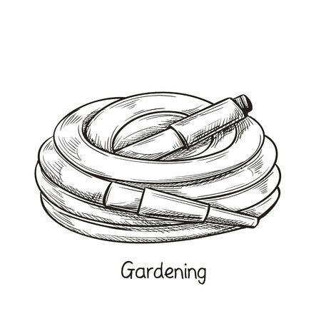 Watering hose in sketch style.