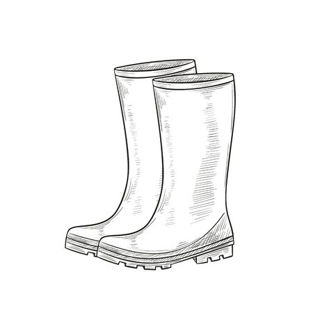 Rubber Garden boots, protection shoes Illustration