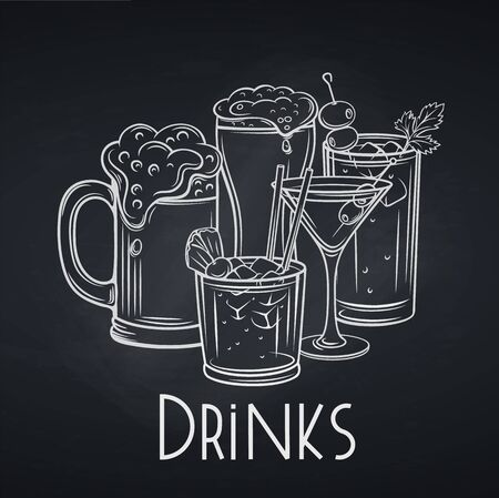 Alcoholic drinks banner, chalkboard style