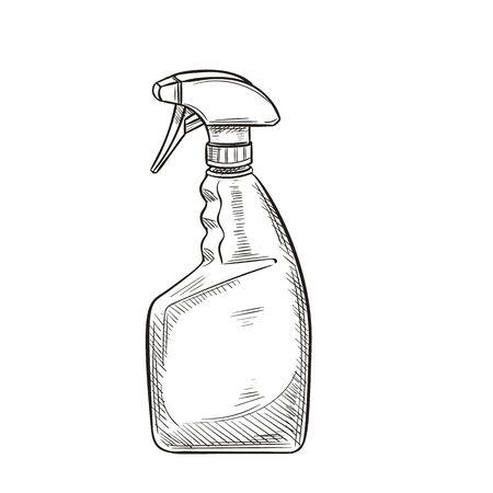 Garden sprayer, bottle aerosol in sketch style Ilustracja