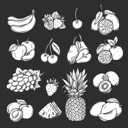 silhouette fruits and berries icons set