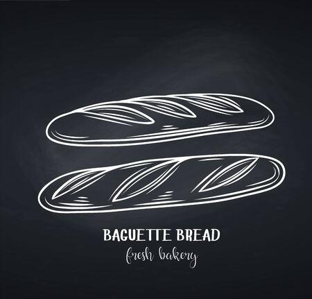 Baguette bread, chalkboard style