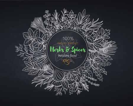 Culinary herbs and spice banner
