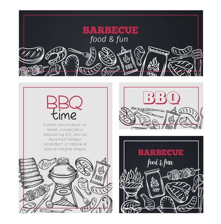 Barbecue time banners.