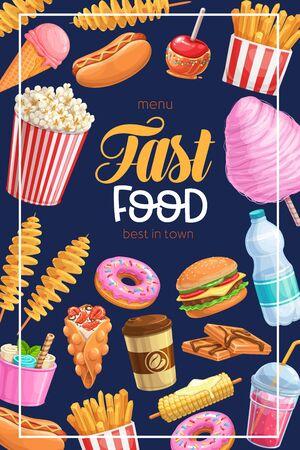 Takeaway meals, street food banner Ilustração