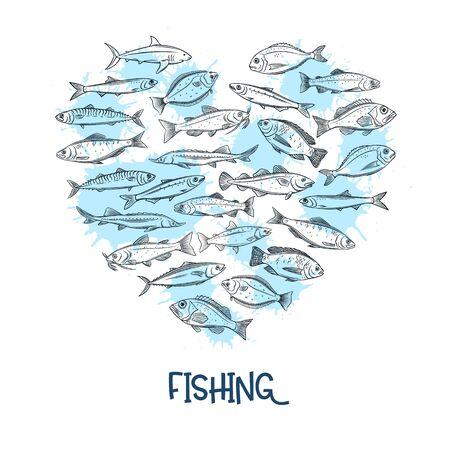 Fish banner, seafood Иллюстрация