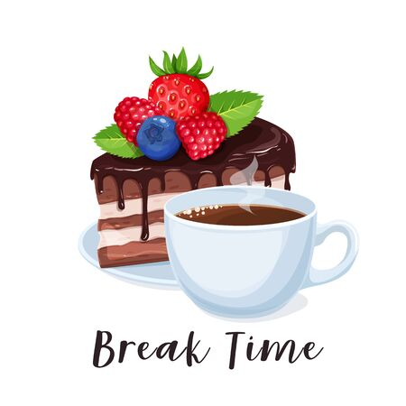 Cup coffee and cake. Coffee break banner with chocolate dessert. Break time concept for cafe design. Vector illustration.