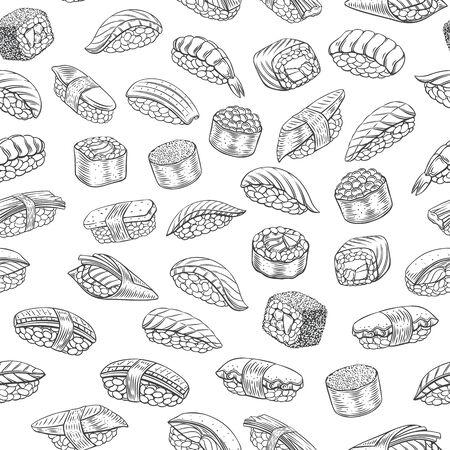 Seamless pattern sushi rolls, outline monochrome background of japanese sushi food for seafood shop or restaurant design. Vector illustration.