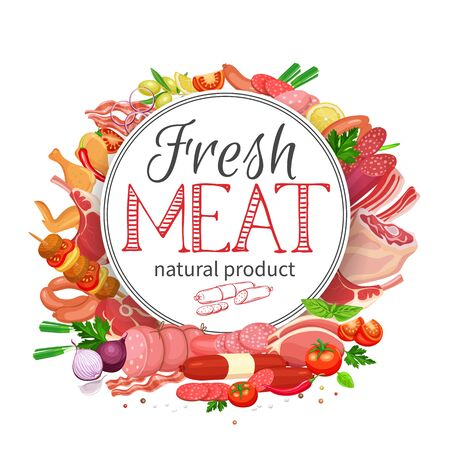 Meat products with vegetables and spices round banner template for food meat production, brochures, banner, menu and market design. Vector Illustration. Ilustracje wektorowe