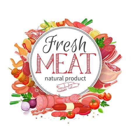 Fleischprodukte mit Gemüse und Gewürzen runden Bannervorlage für die Lebensmittelfleischproduktion, Broschüren, Banner, Menü und Marktdesign. Vektor-Illustration. Vektorgrafik