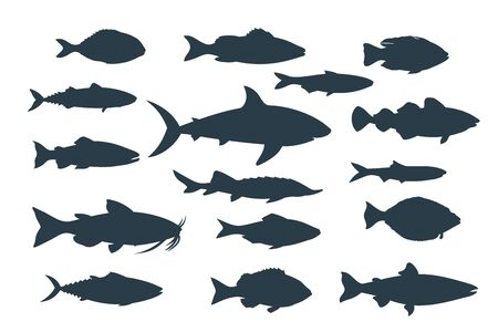 Silhouettes of fish. Seafood icons. Vector illustration.