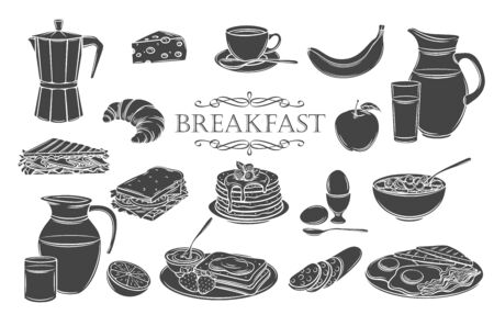 Breakfast icons glyph isolated icons set. Jug of milk, coffee pot, cup, juice, sandwich and fried eggs. White on black vector illustration pancakes, toast with jam, croissant, cheese and flakes.