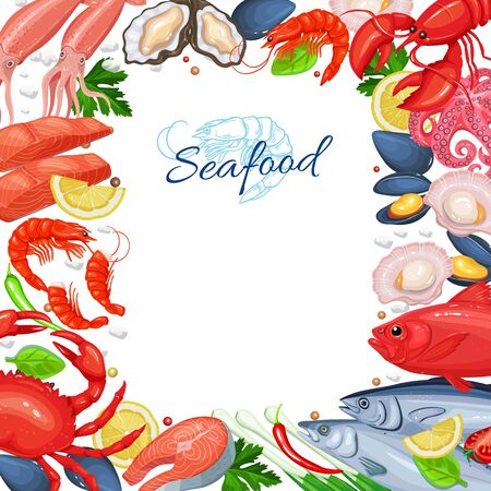 Seafood menu design. Fish dish page template. Vector illustration of seafood product mussel, fish salmon, shrimp, squid, octopus, scallop, lobster, craps, mollusk, oyster and tuna in cartoon style.
