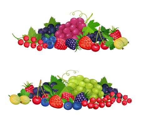 Berries banners template. Vector blueberry, black currant and redcurrant, cherry and raspberry. Berry fruits crop of grapes, gooseberries, blackberries
