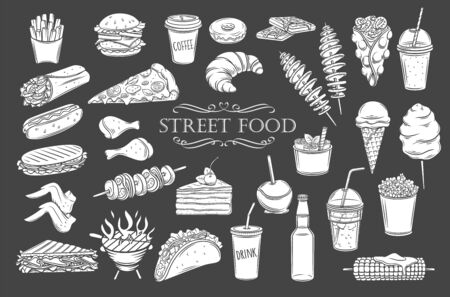 Street food glyph icons. White on black isolated takeaway food silhouettes, vector illustration for menu cafe design. Retro style. Vektorové ilustrace
