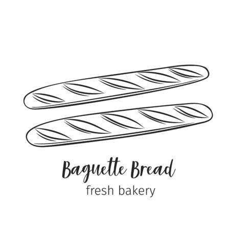 Baguette bread outline hand drawn icon for bakery shop or food design. Vector illustration. Illusztráció
