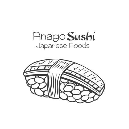 Anago sushi outline icon. Japanese traditional food illustration. Isolated hand drawn vector seafood badge.