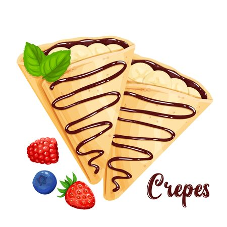 Crepes with bananas and chocolate, pancakes vector illustration for cafe or restaurant.