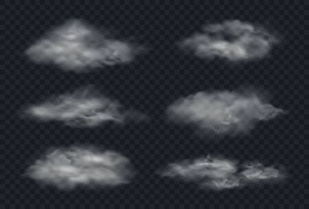 Fog or smoke isolated on transparent background. Realistic white clouds set. Vector illustration.