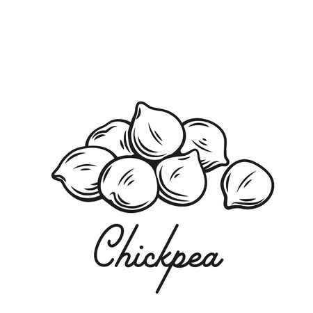 Heap of chickpeas outline vector illustration. Handful of chickpea seed close-up.